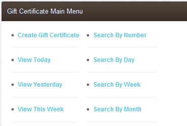 Gift Certificate Lookup Features